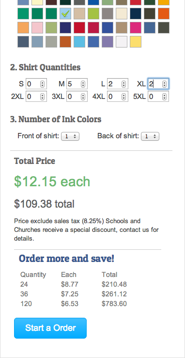 Prices and the quantity discounts update in real-time as the user changes colors, printing colors front and back, quantities, etc.